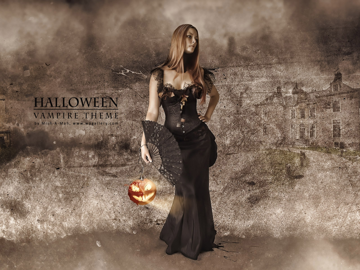Halloween - Vampire theme for 1152 x 864 resolution