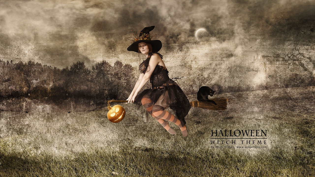 Halloween - Witch theme for 1280 x 720 HDTV 720p resolution